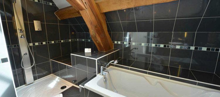 salle de bain chambre 201 à l'Chambre 402 à l'Hôtel relais de la Côte-d'Or à Semur-en-Auxois Bourgogne