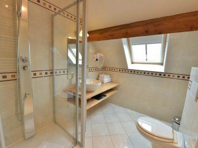 Salle de bain chambre 204 de l'Chambre 402 à l'Hôtel relais de la Côte-d'Or à Semur-en-Auxois Bourgogne